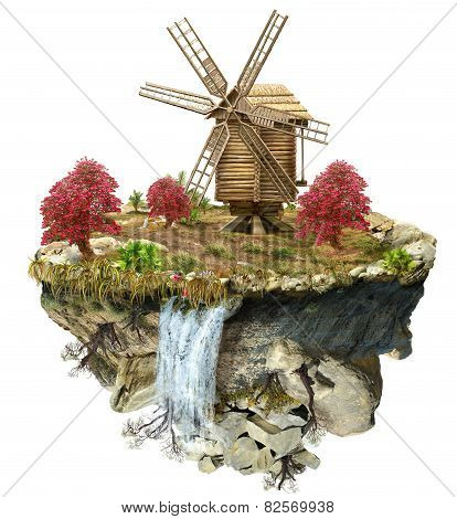 Wooden Windmill On The Island