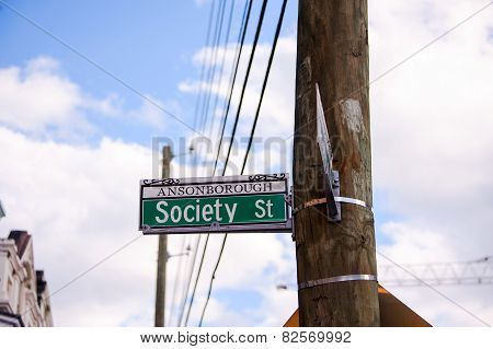 Society St Sign in Charleston SC