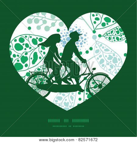 Vector abstract blue and green leaves couple on tandem bicycle heart silhouette frame pattern greeti
