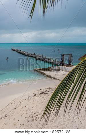 Wooden Pier Isla Mujeres, Tropical Island, Caribbean, Cancun. Traveling Riviera Maya. Mexico Adventu