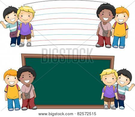 Illustration of Boys Standing Beside Blank Boards