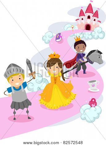 Illustration of Stickman Kids Dressed as Knights Protecting a Make Believe Princess