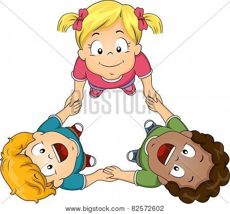 Illustration of Kids Huddling Together to Form a Circle
