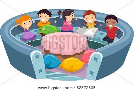 Illustration of Stickman Kids in a Conversation Pit