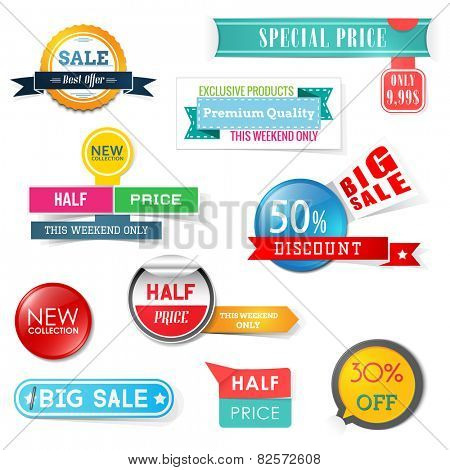 Set of sale design elements. Banners, badges and stickers