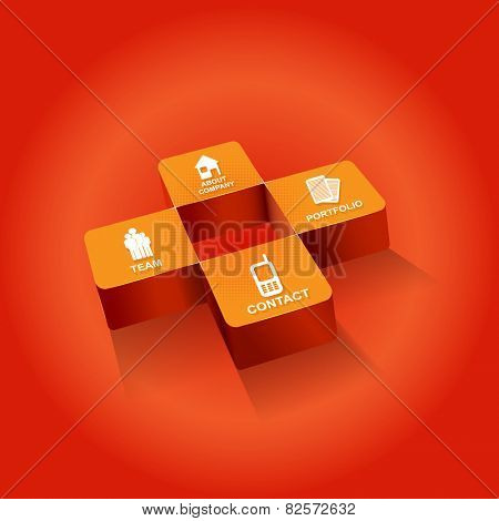 Orange cross background for companies with four icons for company presentation