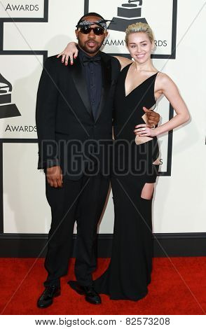 LOS ANGELES - FEB 8:  Mike Will Made It, Miley Cyrus at the 57th Annual GRAMMY Awards Arrivals at a Staples Center on February 8, 2015 in Los Angeles, CA