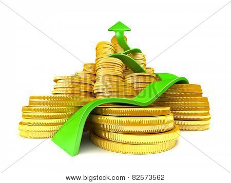 Stack of gold coins with arrow reaching higher