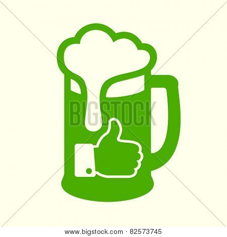 Green beer icon with thumbs up (like) symbol