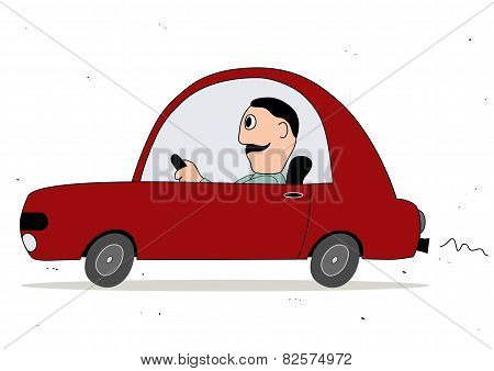 Simple Cartoon Red Car Driver