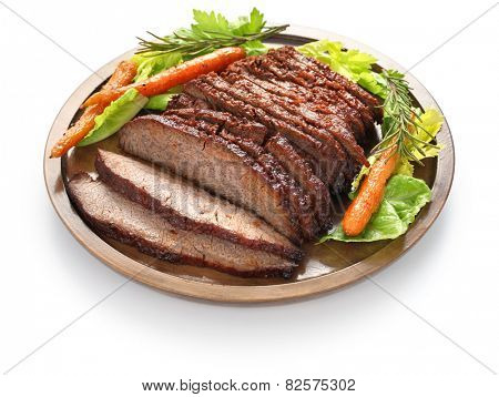 barbecue beef brisket isolated on white background