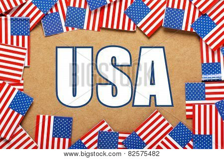 The title USA and American flags
