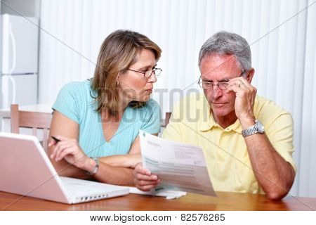 Senior couple looking bills at home with computer.