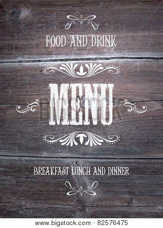Vintage wood cover background for menu. Vector.