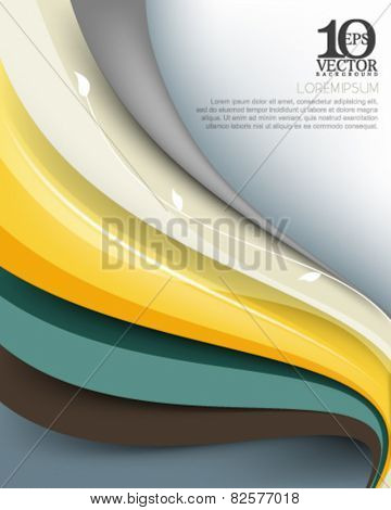eps10 vector elegant multicolor business wave lines elements background illustration with silhouette stem and leaves