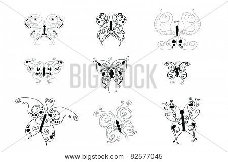 Drawings of various butterflies on white background