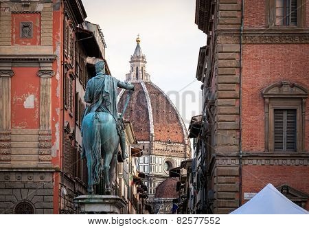 Duomo And Statue Of Ferdinando