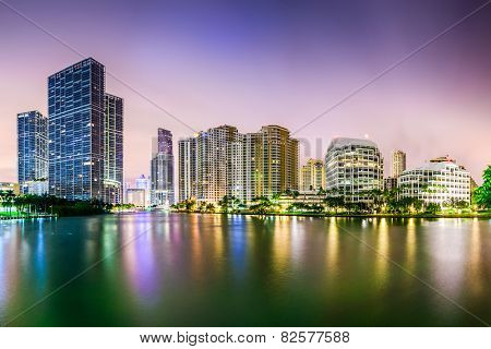 Miami, Florida city skyline.