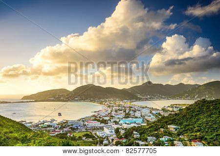 Philipsburg, Sint Maarten, Dutch Antilles cityscape at the Great Salt Pond.