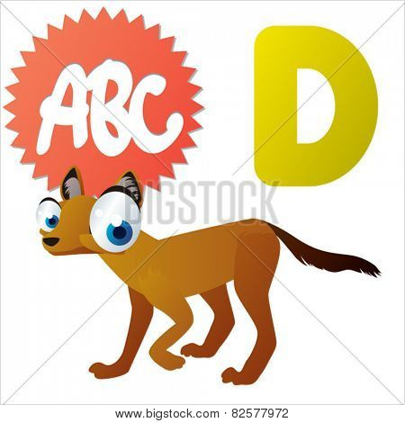cute cartoon comic isolated vector animal abc: D is for Dhole