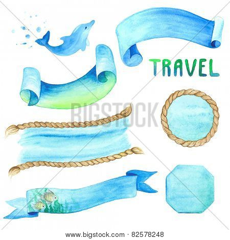 Watercolor set of labels with marine background.