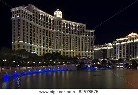 Night View Of The Famous Bellagio Hotel In Las Vegas