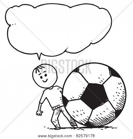 Kid with soccer ball speaking