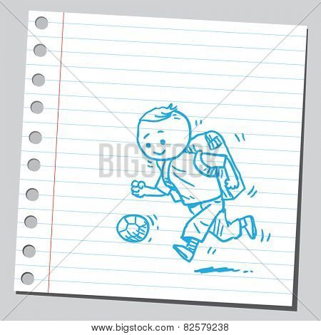 Schoolkid and soccer ball