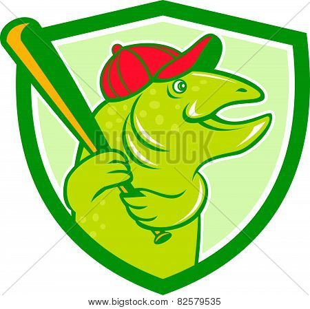 Trout Fish Baseball Batting Shield Cartoon