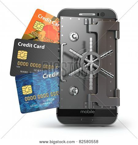 Safety of mobile banking concept. Secure online payment. Smartphone as vault and credit cards. 3d