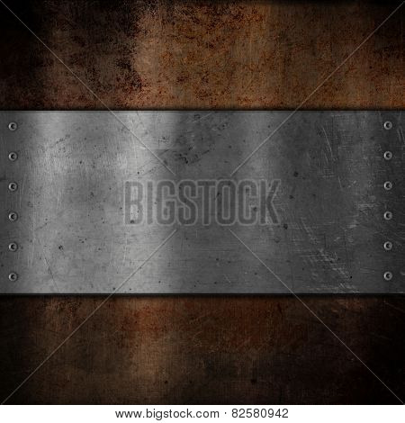 Scratched metal plate on grunge background