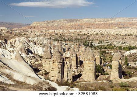 Fairy tale chimneys in Love Valley near Goreme, Cappadocia, Turkey