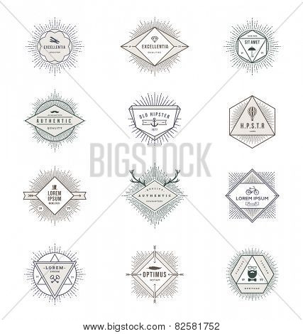 Vector set of sunburst line signs and emblems with hipster symbols
