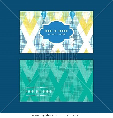 Vector colorful fabric ikat diamond horizontal frame pattern business cards set