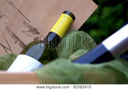 Wine-bottles In Wooden Winebox