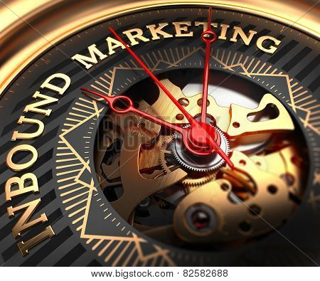 Inbound Marketing on Black-Golden Watch Face.