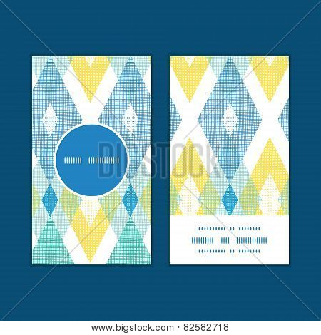 Vector colorful fabric ikat diamond vertical round frame pattern business cards set