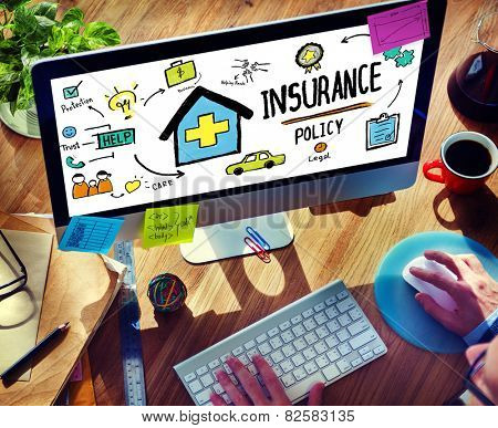 Businessman Insurance Policy Internet Searching Concept