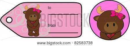 sweet girl reindeer cartoon giftcard