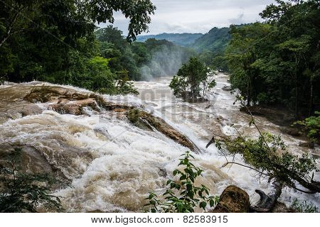 Agual Azul, Flooded River, Caution Water Motion At Chiapas, Traveling Through Mexico.