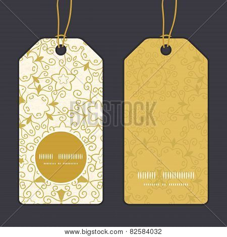 Vector abstract swirls old paper texture vertical round frame pattern tags set