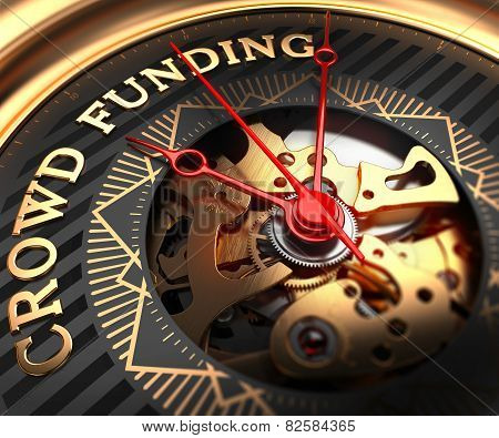 Crowd Funding on Black-Golden Watch Face.