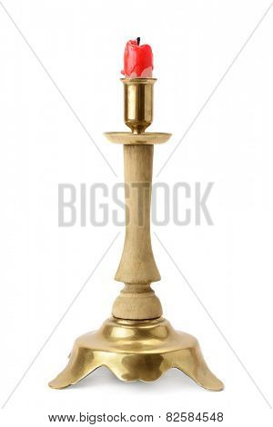 candlestick and candle isolated on a white background