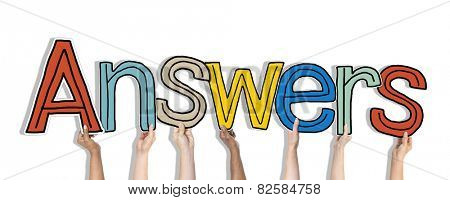 Group of Diverse People's Hands Holding Answers