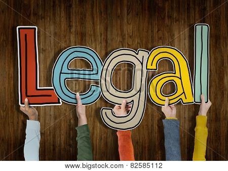 Legal Approve Wooden Wall Hands Up Hold Concept