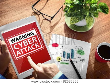 Digital Device Wireless Browsing Warning Cyber Attack Concept