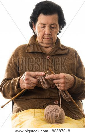sweet grandmother knitting
