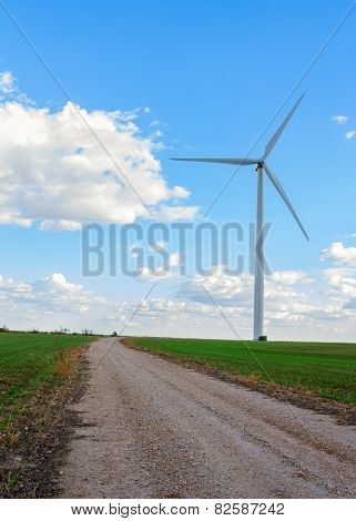 Roadway To Wind Farm Windmill
