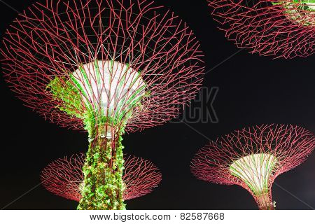 SINGAPORE - DECEMBER 10: Night view at Garden by the Bay super tree groove December 10, 2014 in Singapore. Closeup image of the supertrees
