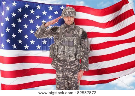Portrait Of Man In Military Uniform Saluting